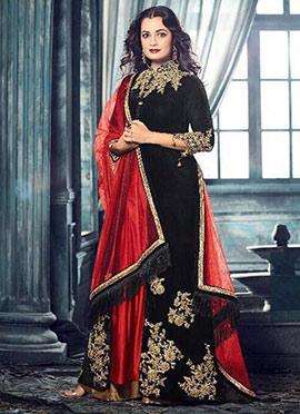 Diya Mirza Black Anarkali Suit