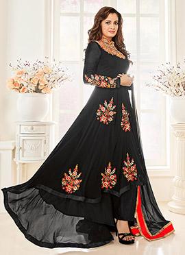 Diya Mirza Black Asymmetrical Anarkali Suit