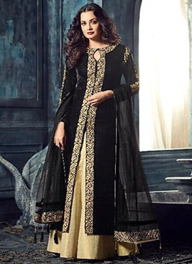 Diya Mirza Black Velvet Long Choli Lehenga