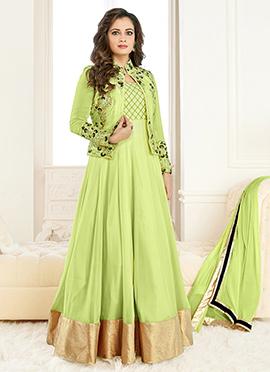 Diya Mirza Light Green Anarkali Suit
