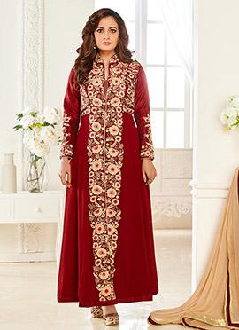 Diya Mirza Maroon Georgette Anarkali Suit