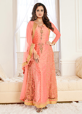 Diya Mirza Peach Art Silk Anarkali Suit