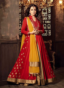 Dia Mirza Red Long Choli Lehenga