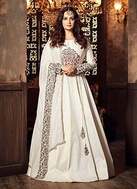 Diya Mirza White Abaya Style Anarkali Suit