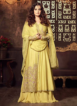 Diya Mirza Yellow Long Choli Lehenga