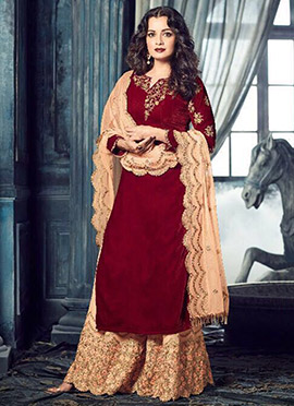 Dia Mirza Maroon Palazzo Suit