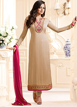 Drashti Dami Beige Straight Suit