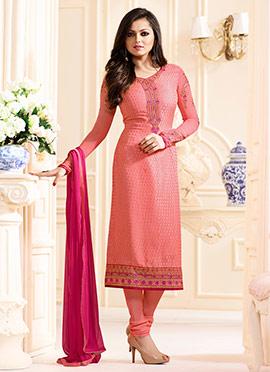 Drashti Dami Coral Pink Straight Suit
