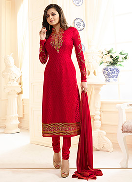 Drashti Dami Red Straight Suit