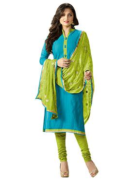 Drashti Dhami Aqua Blue Churidar Suit