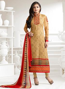 Drashti Dhami Beige Crepe Straight Suit