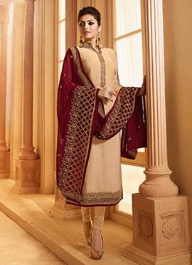 Drashti Dhami Beige Embroidered Churidar Suit