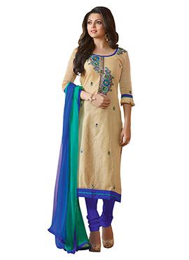 Drashti Dhami Beige N Blue Churidar Suit