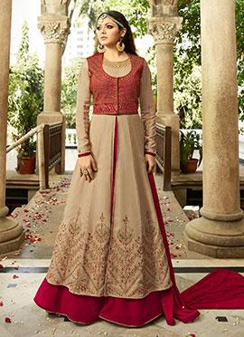 Drashti Dhami Beige N Dark Pink Anarkali Suit
