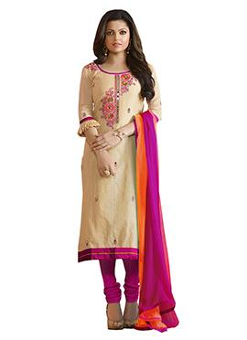 Drashti Dhami Beige N Pink Churidar Suit