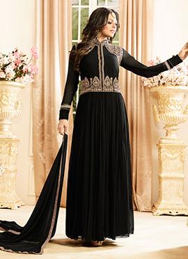 Drashti Dhami Black Abaya Style Anarkali Suit