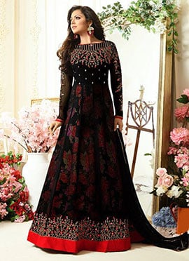 Drashti Dhami Black Georgette Anarkali Suit