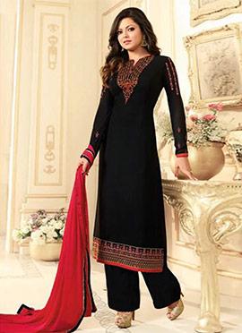 Drashti Dhami Black Georgette Palazzo Suit
