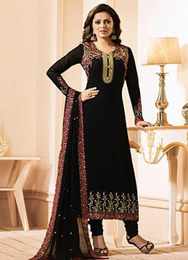 Drashti Dhami Black Georgette Straight Suit