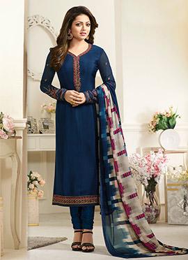 Drashti Dhami Blue Crepe Churidar Suit