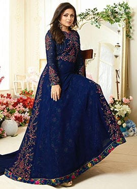 Drashti Dhami Blue Georgette Anarkali Suit