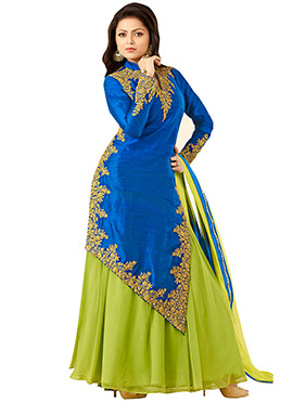 Drashti Dhami Blue N Pear Green Long Choli Lehenga