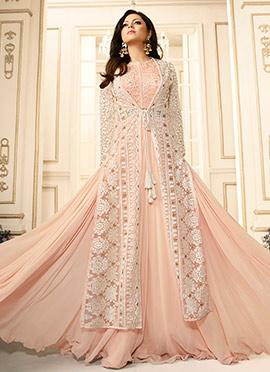 Drashti Dhami Blush Pink Art Silk Umbrella Lehenga