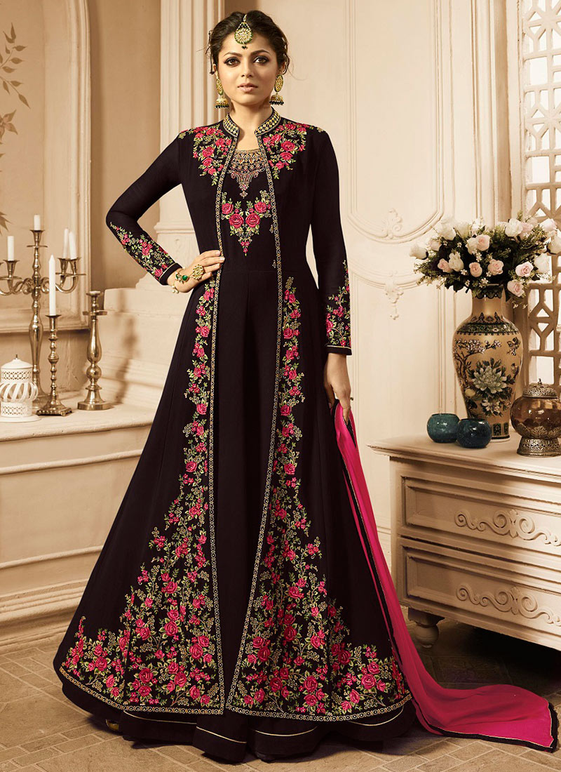 02fd98a595 Buy Drashti Dhami Brown Embroidered Anarkali Suit, Embroidered ...