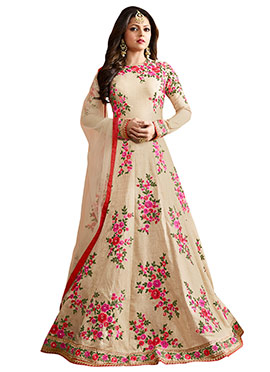 Drashti Dhami Cream Anarkali Suit