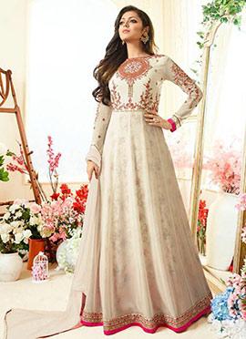 Drashti Dhami Cream Georgette Anarkali Suit