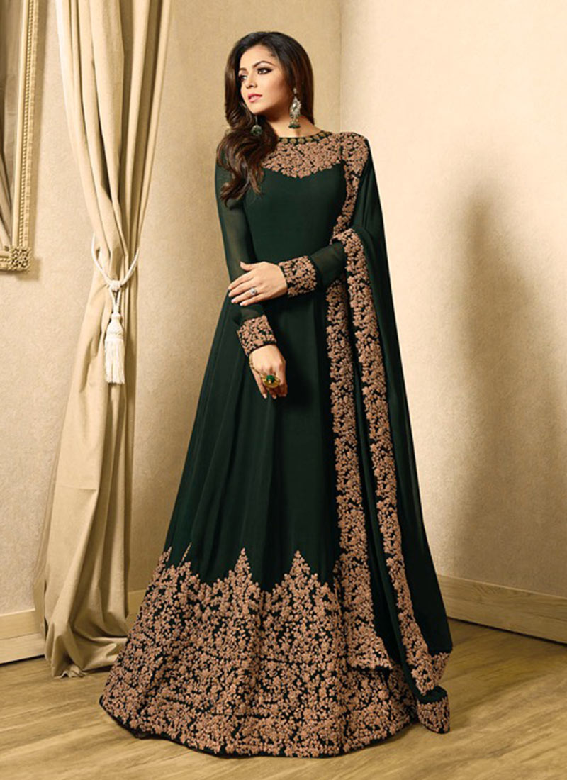 34c71996a5 Buy Drashti Dhami Dark Green Abaya Style Anarkali Suit ...