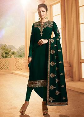 Drashti Dhami Dark Green Embroidered Churidar Suit