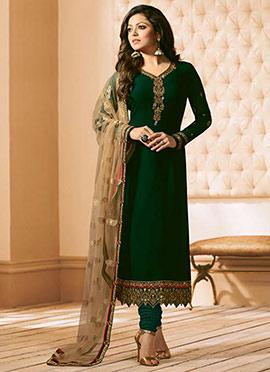 Drashti Dhami Dark Green Georgette Straight Suit