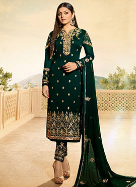 Drashti Dhami Dark Green Straight Pant Suit