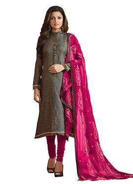 Drashti Dhami Dark Grey Chanderi Churidar Suit