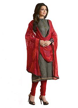 Drashti Dhami Dark Grey Churidar Suit