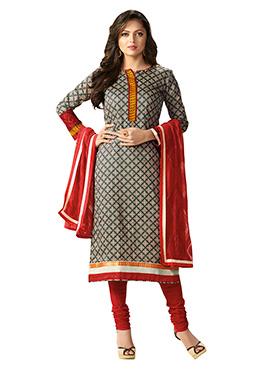 Drashti Dhami Dark Grey Rayon Churidar Suit