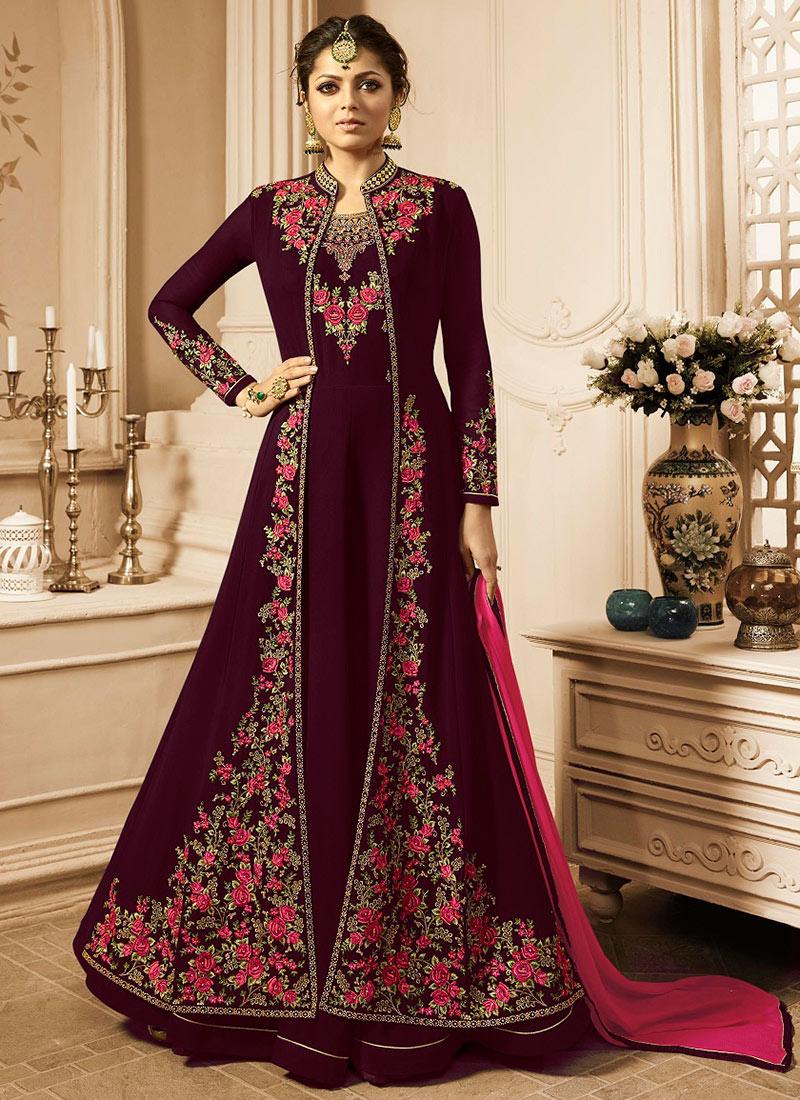 ed88cc481e Buy Drashti Dhami Dark Magenta Embroidered Anarkali Suit ...