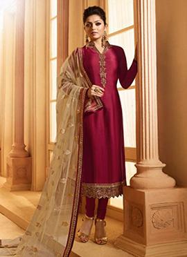 Drashti Dhami Dark Pink Embroidered Churidar Suit