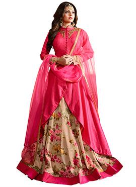 Drashti Dhami Fuchsia Pink Long Choli Umbrella Lehenga