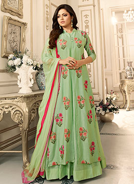 Drashti Dhami Green Art Silk Umbrella Lehenga