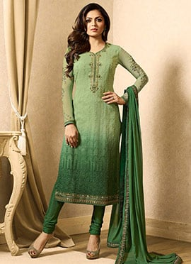 Drashti Dhami Green Ombre Embroidered Straight Suit