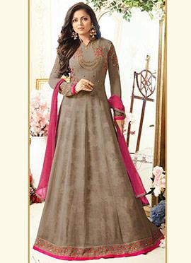 Drashti Dhami Grey Georgette Anarkali Suit