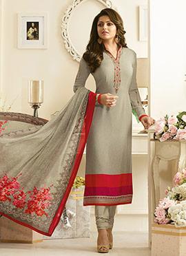 Drashti Dhami Light Grey Crepe Churidar Suit
