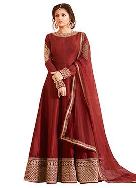 Drashti Dhami Maroon Abaya Style Anarkali Suit