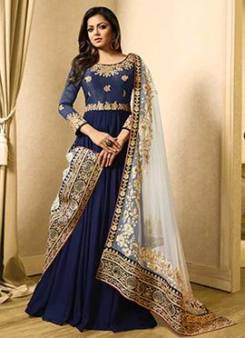 Drashti Dhami Navy Blue Abaya Style Anarkali Suit