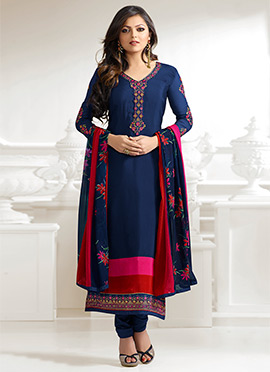 Drashti Dhami Navy Blue Crepe Straight Suit