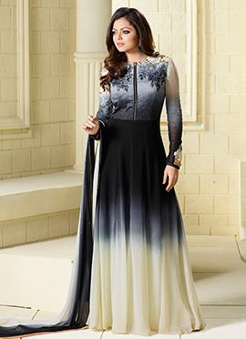 Drashti Dhami Navy Blue N Cream Anarkali Suit