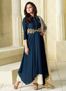 Drashti Dhami Navy Blue Palazzo Suit