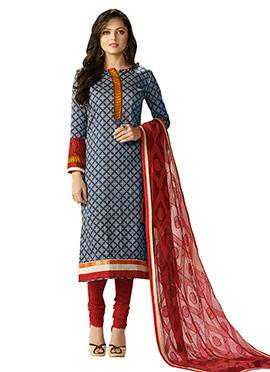 Drashti Dhami Navy Blue Rayon Churidar Suit